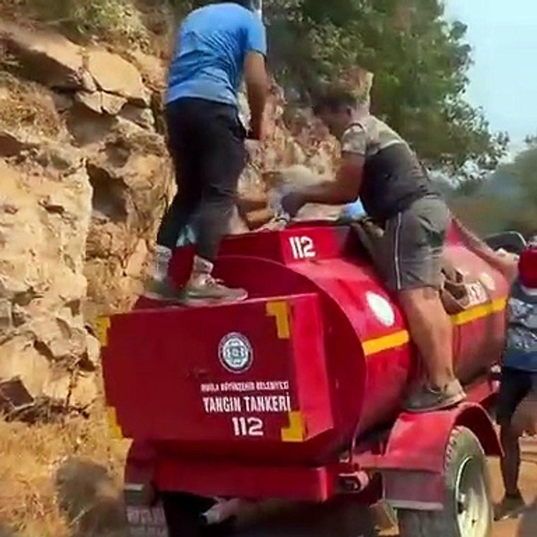 Taşıma suyla yangına müdahale görüntüleri kahretti