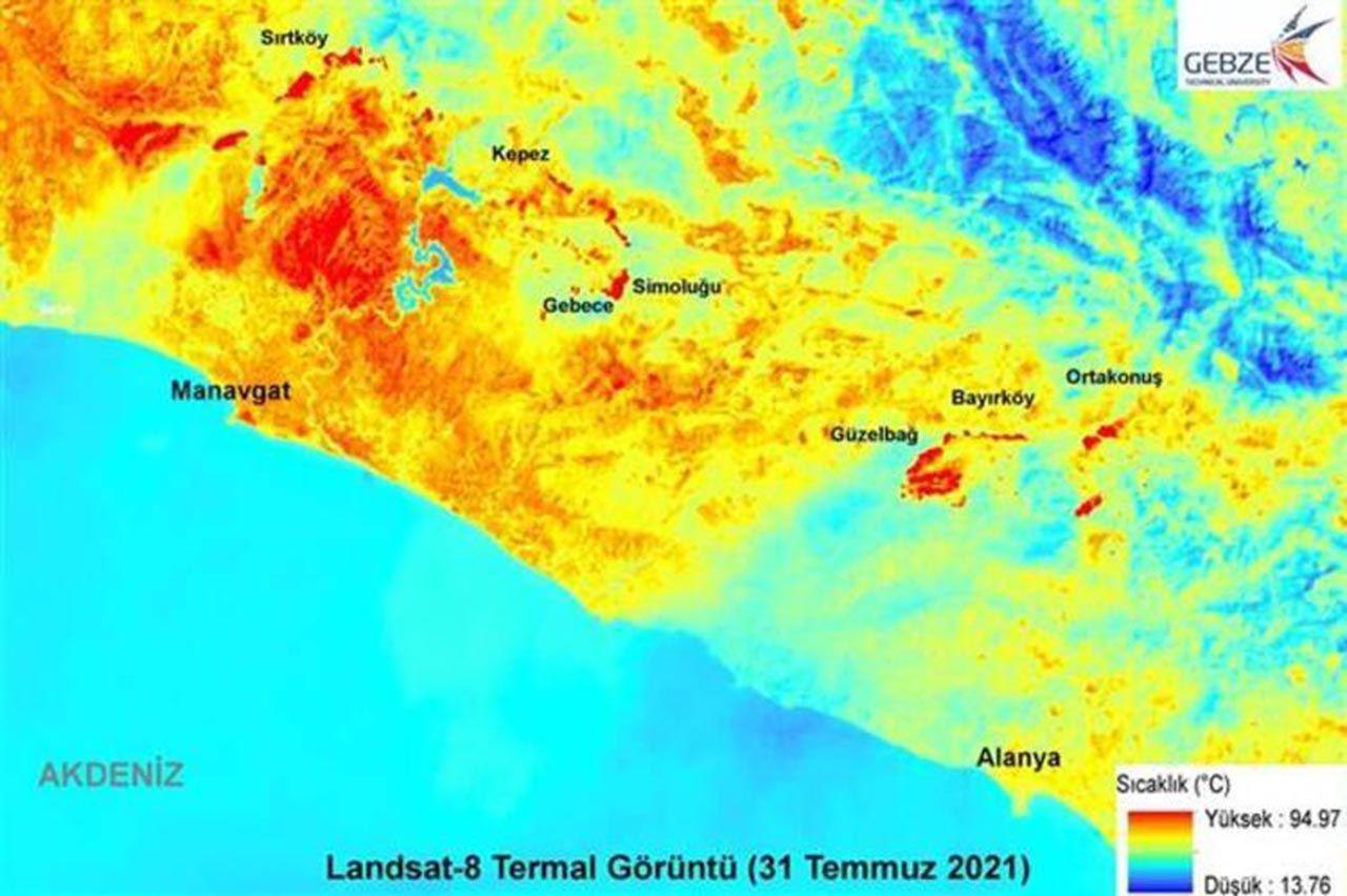 Manavgat'ı küle çeviren yangının haritası çıkarıldı - Resim: 1