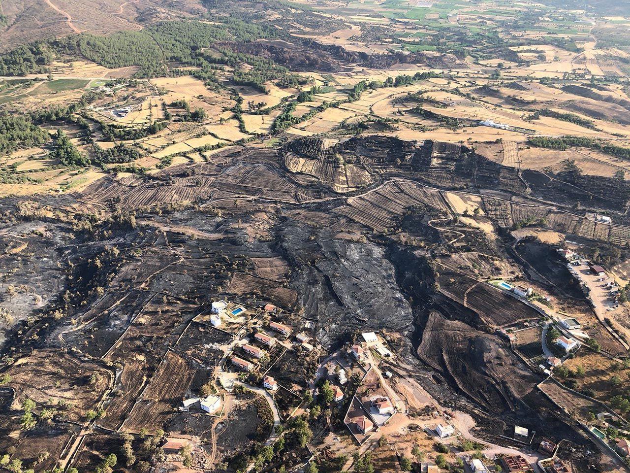 Bodrum ve Milas'tan kahreden görüntüler: Yanan alanlar havadan görüntülendi - Resim: 1