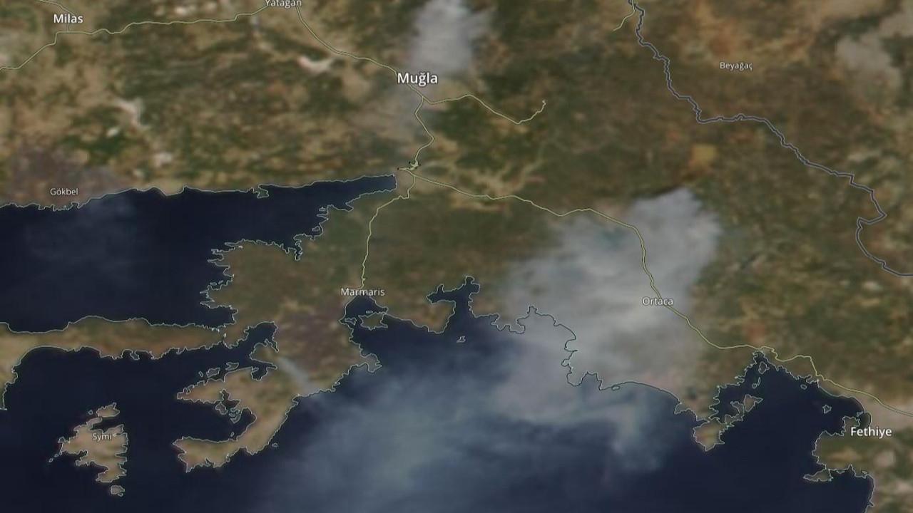 Bu görüntüler NASA'dan geldi: Köyceğiz'den yükselen dumanlar Akdeniz'i sardı