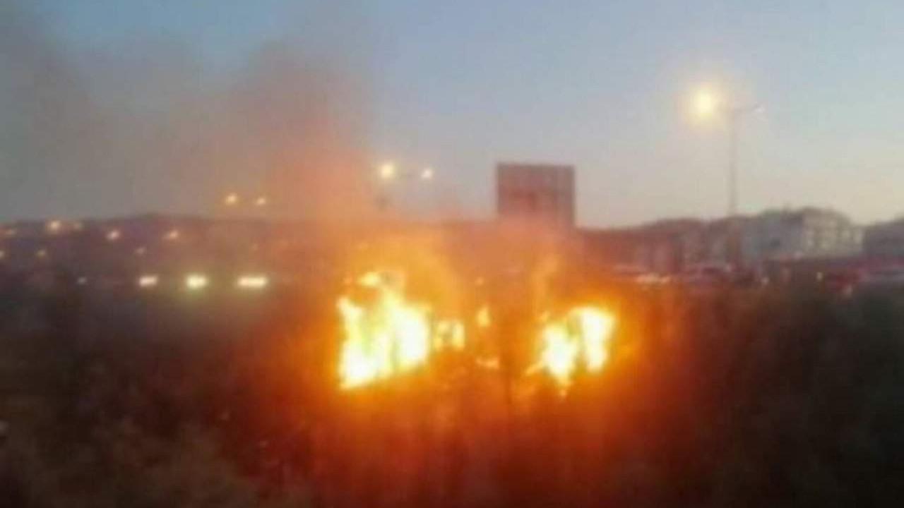 Ankara'da yeni ağaçlandırılan alanda yangın