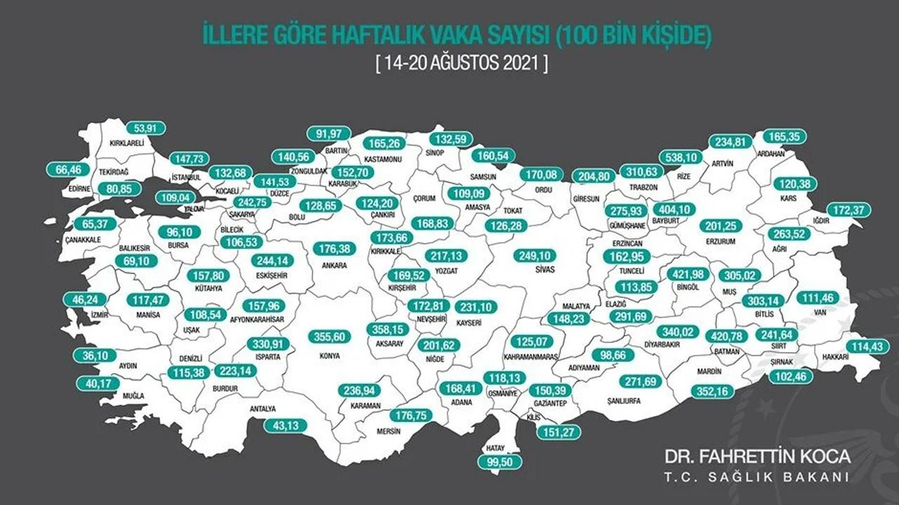İllere göre haftalık vaka haritası açıklandı: İşte vaka sayısı en fazla olan il!