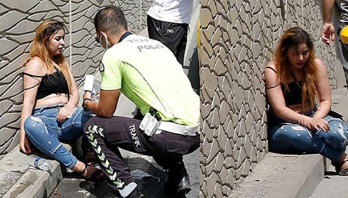 Taksim'de kadın turist çılgına dönüp taksiye saldırdı