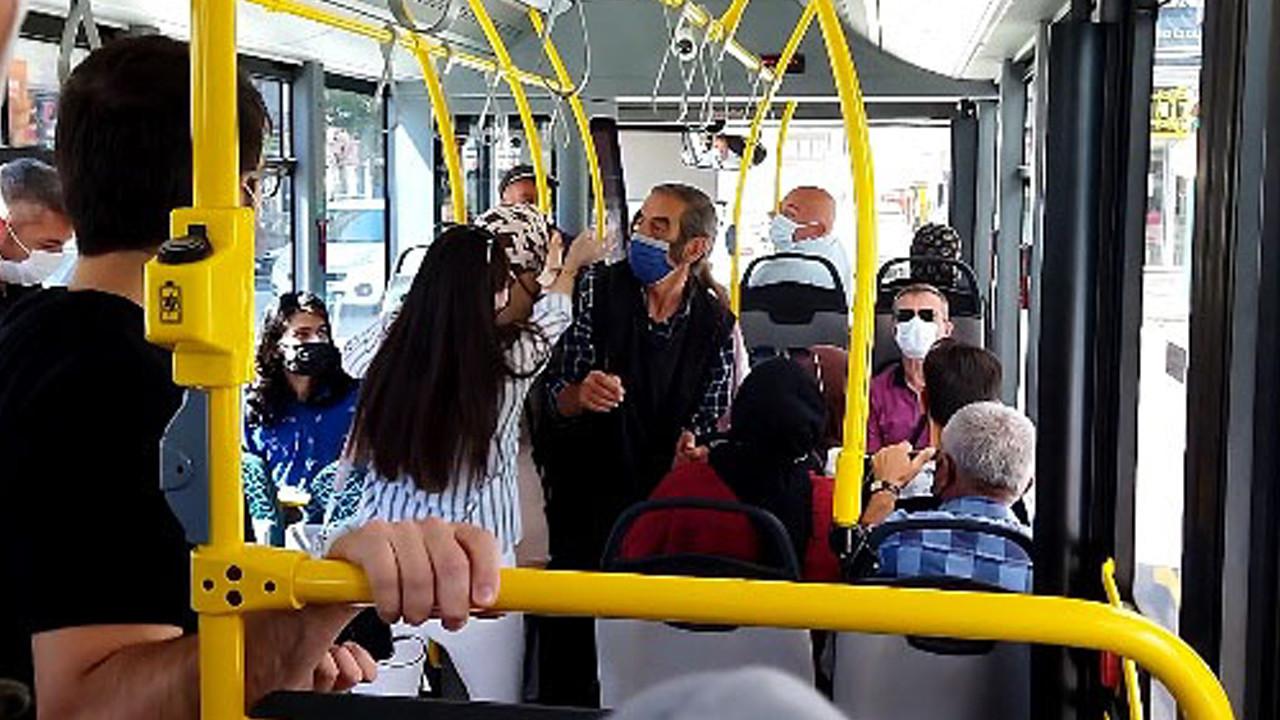 Halk otobüsünde iki kadının ''maske'' kavgası kameralara yansıdı