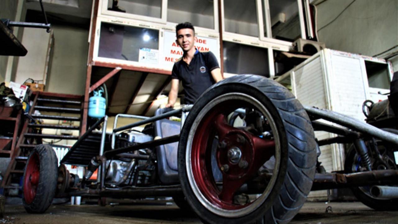 Genç usta hayalini gerçekleştirip kendi arabasını yaptı