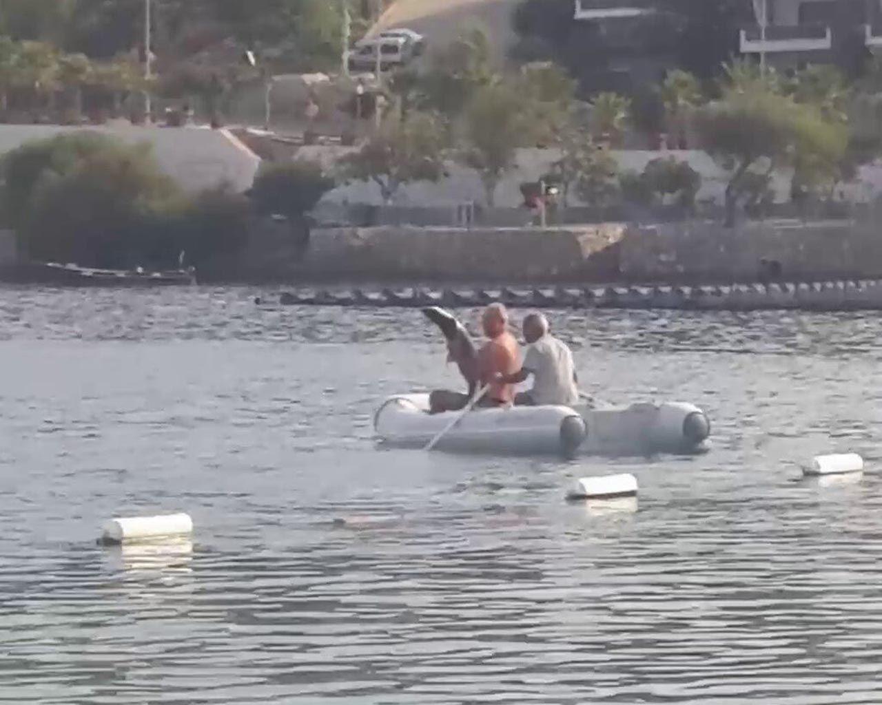 Bodrum'da ilginç anlar: Köpekbalığını elleriyle yakaladı! - Resim: 3