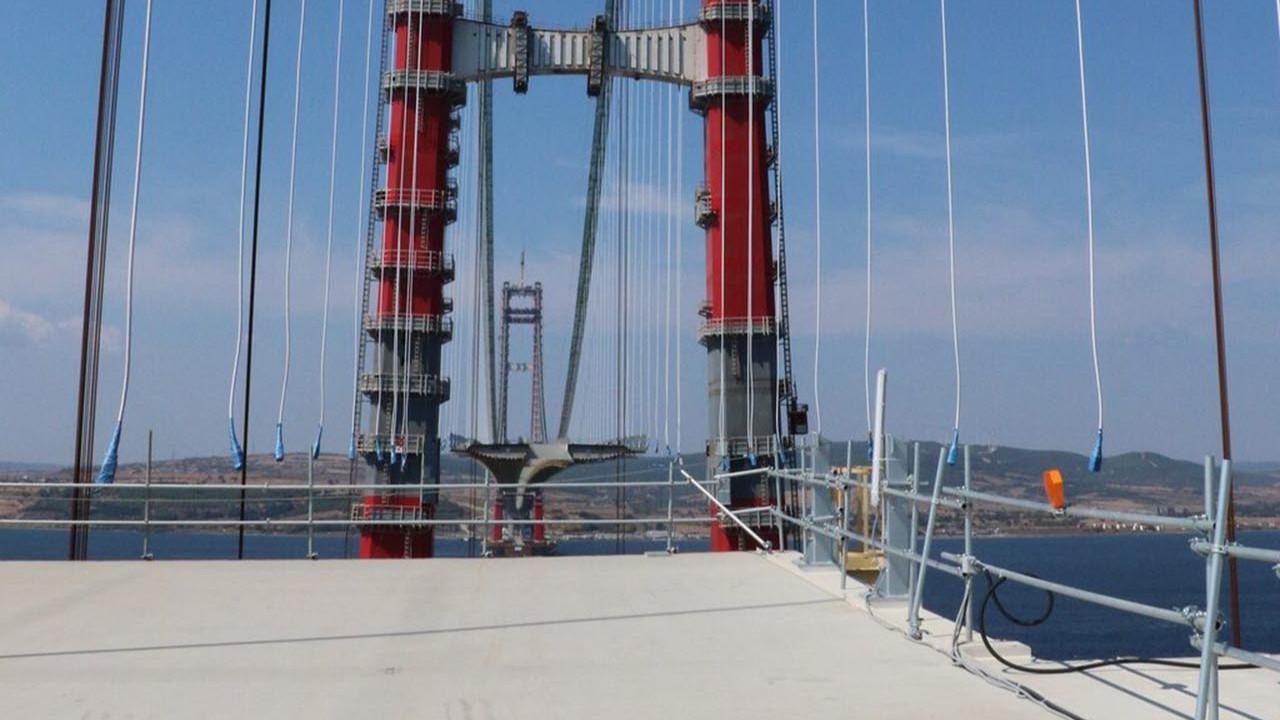 Çanakkale Köprüsü'nün üstünde ilk çekim... Ay sonu tamamlanıyor!