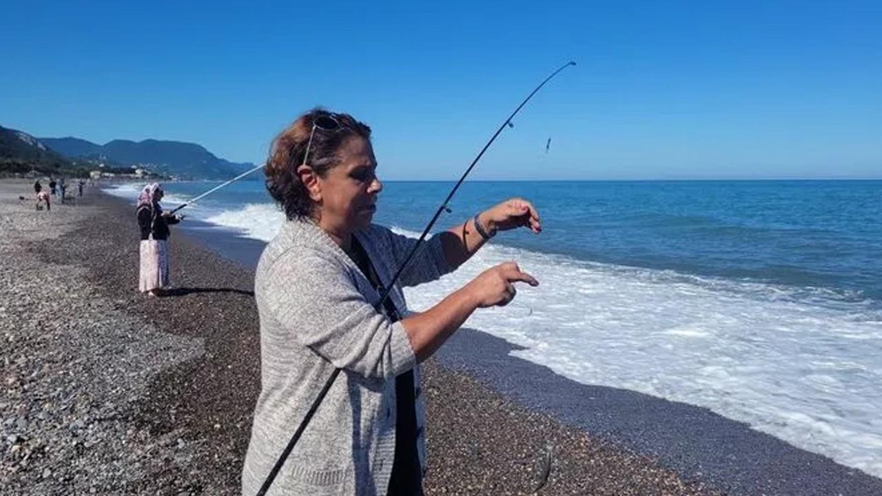 Poyraz bereketiyle geldi: Oltayı atan kova kova balık tutuyor