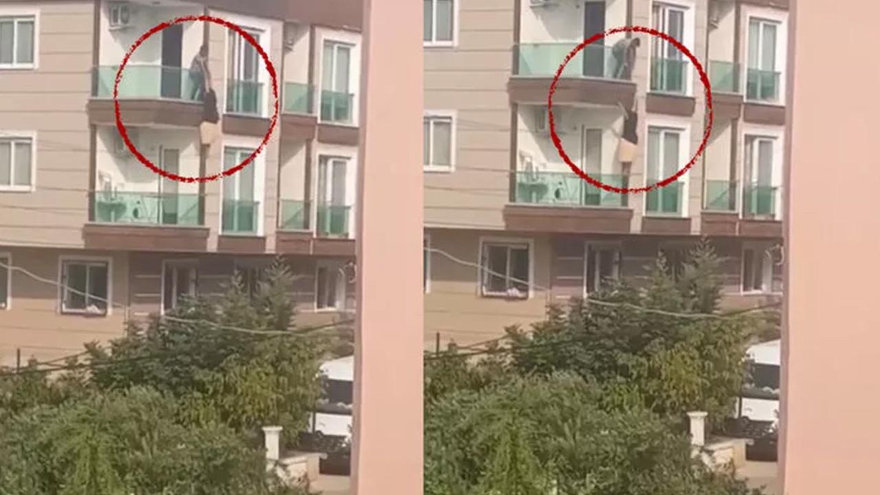 Çığlık atarak balkona çıkan kadın ikinci kattan düştü!