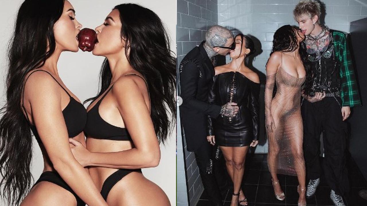 Kourtney Kardashian ve Megan Fox'un üstsüz pozları olay oldu
