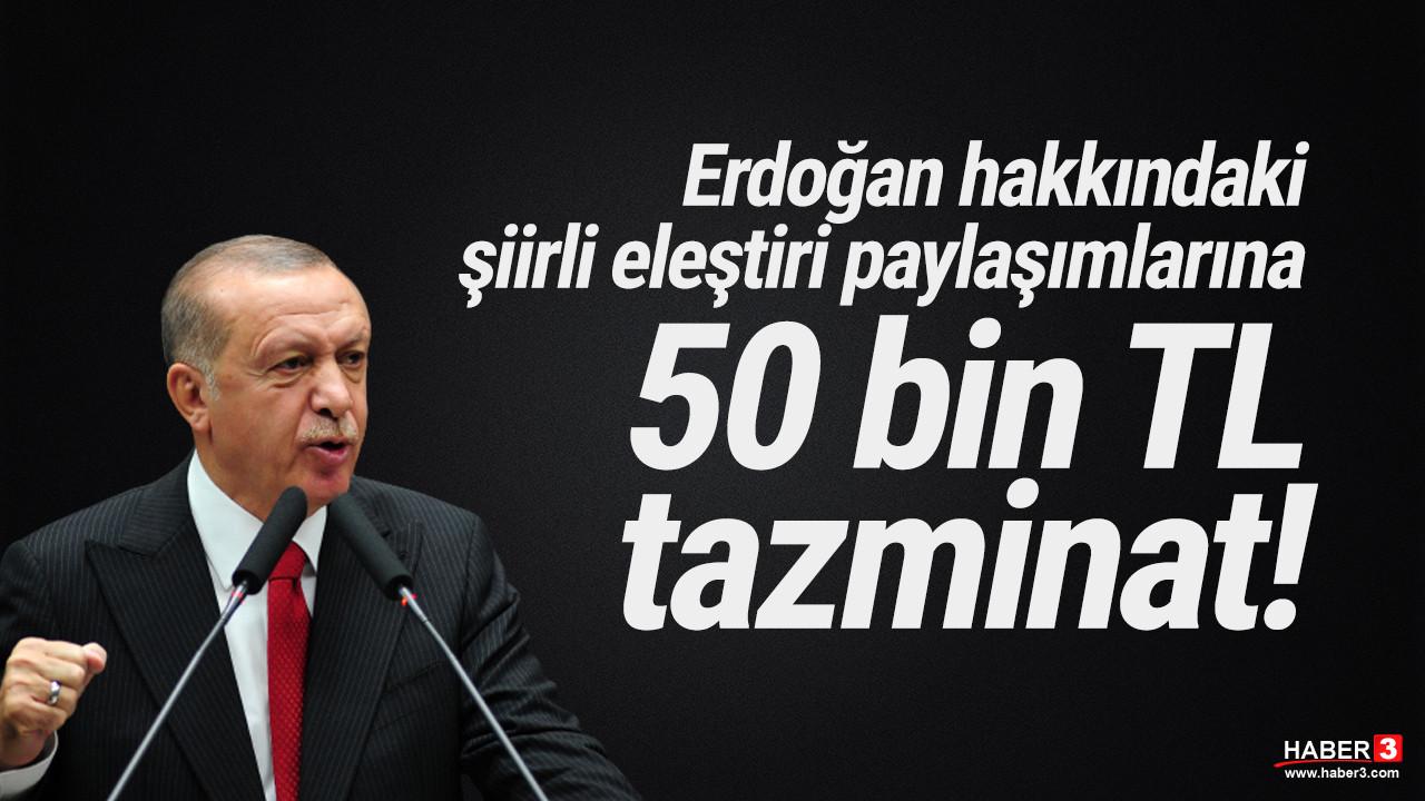 Erdoğan'a şiirle eleştiri ''hakaret'' sayıldı; 50 bin TL tazminat ödeyecek