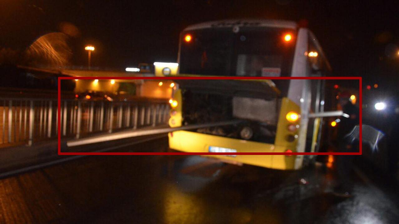 İstanbul'da korkunç kaza! Bariyer İETT otobüsüne saplandı