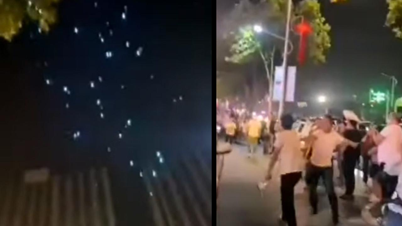 Dijital kaosta şoke eden görüntü! Gökten insanların üzerine drone yağdı
