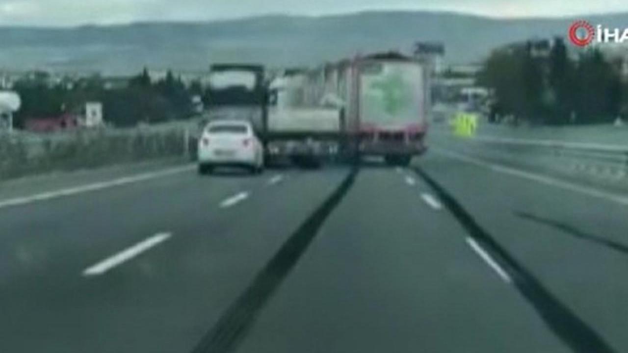 İki TIR şoförünün yol vermeme inatlaşması felaket getirdi