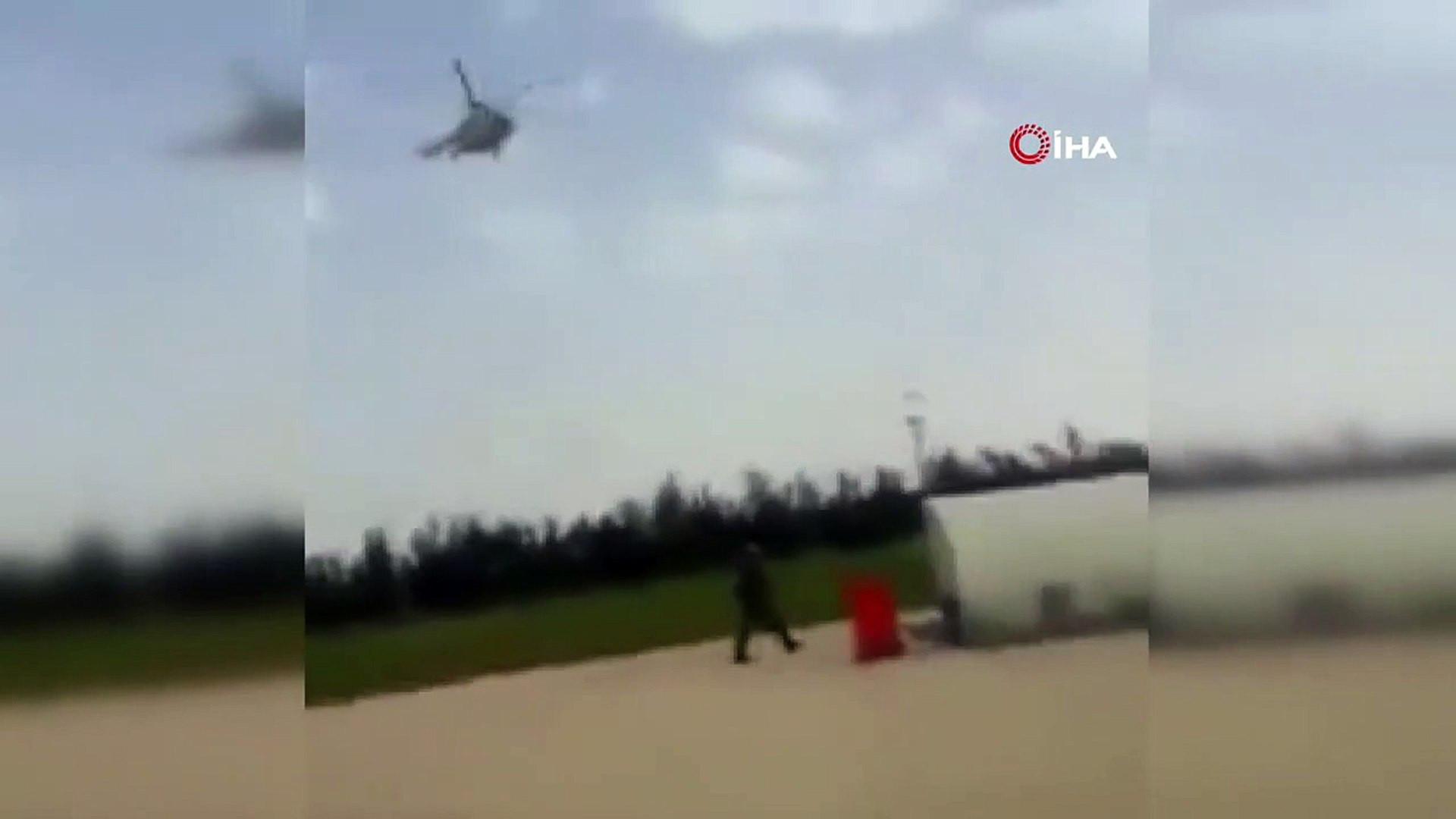 Para taşıyan helikopter düştü