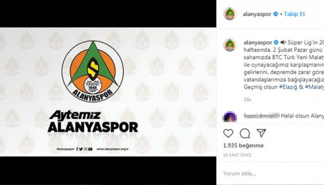 Alanyaspor, Malatya maçı tribün gelirlerini depremzedelere bağışladı