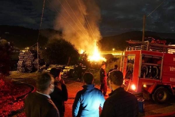 Bodrum'da pelet fabrikasında yangın